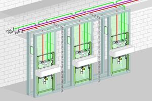 """<div class=""""bildtext_1"""">Installationsbeispiel aus einer Pflegeeinrichtung mit Verteilleitungen in der abgehängten Decke und ebenfalls horizontal endendem PWH-C-System. </div>"""
