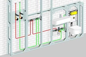 """<div class=""""bildtext_1"""">Installationsbeispiel einer Trinkwasser-Anlage zum Beispiel in einer Wohnung. Hier ist das Erwärmungsrisiko für PWC in der Regel auch in einer ungedämmten Vorwand absolut vernachlässigbar.</div>"""