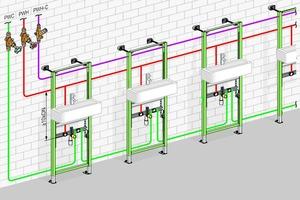 """<div class=""""bildtext_1"""">Installationsbeispiel einer Reihenanlage: Die Dämmung der Trinkwasserleitung PWH sorgt in Kombination mit den Absorptionsflächen für die geringen Wärmelasten dafür, dass der Temperaturanstieg in der Vorwand unkritisch bleibt. </div>"""