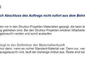 Material wird nach Abschluss des Auftrags nicht sofort aus dem Betrieb entfernt ...<br />