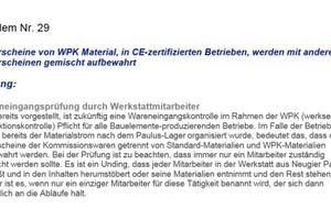 Lieferscheine von WPK Material, in CE-zertifizierten Betrieben, werden mit anderen Lieferscheinen gemischt aufbewahrt ...<br />