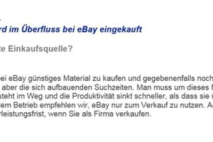 Billigmaterial wird im Überfluss bei eBay eingekauft ...<br />