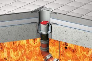 """<div class=""""bildtext_1"""">ACO Bodenablauf """"Passavant"""" mit aktivierter Brandschutz-Kartusche gegen Feuer von unten.</div>"""