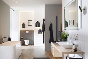 """<div class=""""bildtext_1"""">Große Glas- oder Spiegelflächen, Großformatfliesen mit schmalen Fugen, Sichtbetonflächen, hartes Feinsteinzeug oder darunter verlegte Wand- und Bodenheizungen machen die Klebetechnik für den Sanitärbereich besonders interessant.</div>"""