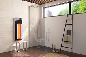 """<div class=""""bildtext_1"""">Repabad """"Infrarotpaneele"""" werten die Dusche zur Infrarotkabine auf. So kommt heilende Infrarotwärme direkt ins Hotelbadezimmer.</div>"""