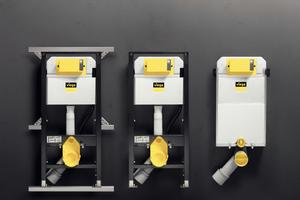 """<div class=""""bildtext_1"""">L<irspacing style=""""letter-spacing: -0.005em;"""">inks das """"Prevista Dry""""-WC-Element in Verbindung mit der """"Prevista Dry Plus""""-Montageschiene, in der Mitte das ebenfalls in der Höhe verstellbare WC-Element (Einzelwandmontage bzw. im bauseitigen Ständerwerk), rechts der """"Prevista Pure""""-Block für den </irspacing>Nassbau. </div>"""