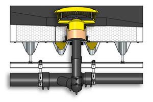 """<div class=""""bildtext_1"""">Notentwässerung im nicht belüfteten Dachaufbau eines Druckströmungssystems: Hier mit dem gelben SitaMore Anstauelement.</div>"""