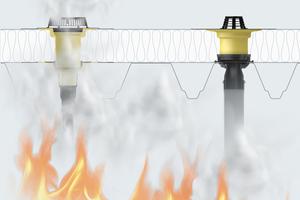 """<div class=""""bildtext_1"""">Wenn`s brennt: Wirkt Hitze von unten ein, dehnt sich die Brandschutzmanschette aus und drückt den Anschlussstutzen ab. Die Dachöffnung wird verschlossen.</div>"""