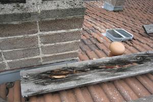 """<div class=""""bildtext_1"""">Lauffläche aus Holz über Dach morsch – Erneuerung gegen metallische Laufrosten spätestens jetzt erforderlich.</div>"""