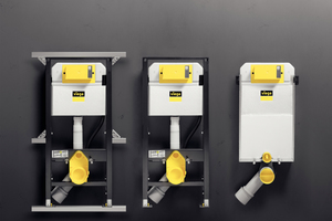 """<div class=""""bildtext_1"""">Das Vorwandsystem """"Prevista"""": Links das """"Prevista Dry""""-WC-Element in Verbindung mit der """"Dry Plus""""-Montageschiene für die flexible Badgestaltung, in der Mitte das ebenfalls in der Höhe verstellbare WC-Element für die Einzelwandmontage oder für die Montage im bauseitigen Ständerwerk, rechts der """"Prevista Pure""""-Block für den Nassbau. </div>"""