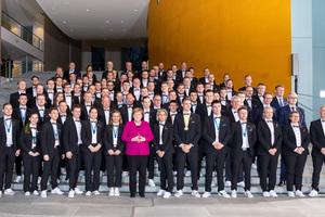 Bundeskanzlerin Angela Merkel empfing am 02. Dezember 2019 die Deutsche Berufe- Nationalmannschaft im Bundeskanzleramt und sprach dem Team ihre Anerkennung für die große Leistung bei der WM der Berufe im russischen Kasan aus.
