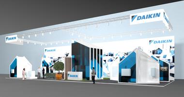 """<div class=""""bildtext_1"""">Daikin präsentiert auf den Frühjahrsmessen 2020 in Essen und Nürnberg seine Wärmepumpen-, Heiztechnik- und Split-Klimatechnikkompetenz mit einem einheitlichen Markenauftritt in der """"Daikin City"""".</div> <div class=""""bildtext_1""""></div>"""
