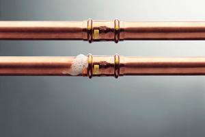 """<div class=""""bildtext_1"""">Viele Pressverbinder, wie bei dieser Kupferrohr-Gasinstallation, eignen sich für die trockene Dichtheitsprüfung mit Luft oder Inertgas. </div>"""