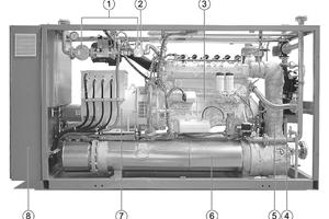 """<div class=""""bildtext_1"""">Hauptbestandteile des Buderus-Blockheizkraftwerkes """"LoganovaEN140"""":</div><div class=""""bildtext_1"""">1 Sicherheits-Gasregelstrecke<br />2 Lambdaregler (Erdgas)<br />3 Gasmotor<br />4 Sicherheitsventil (Heizungsanlage)<br />5 Lambdasonde<br />6 Abgaswärmetauscher<br />7 Generator<br />8 Schalt- und Steuerschrank mit Bedienelementen</div>"""