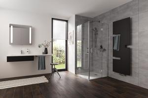 """<div class=""""bildtext_1"""">Die Pendeltüren der Duschkabinenserie """"Aperto"""" ermöglichen einen geräumigen Einstieg in die Dusche. Dank der schmalen Festelemente lässt sich die Tür auch bei hervorstehenden Heizkörpern problemlos öffnen.</div>"""