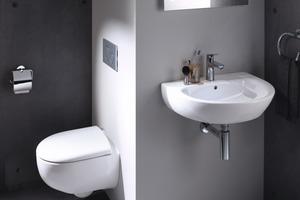 """<div class=""""bildtext_1"""">Auch für kleine oder Gästebäder gibt es von Geberit """"Renova"""" das passende Sortiment: Kompakte Waschtische mit Unterschränken sowie WCs in reduzierter Größe.</div>"""