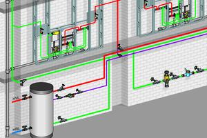 """<div class=""""bildtext_1"""">Da Wärme nach oben steigt, sollten warmgehende Rohrleitungen von oben und kaltgehende Rohrleitungen von unten an die Entnahmestelle geführt werden. So lässt sich der Wärmeübergang auf Trinkwasser kalt reduzieren. </div>"""
