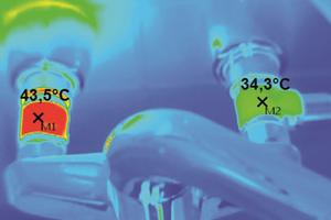 """<div class=""""bildtext_1"""">Thermografie einer Wandarmatur: Wird die Warmwasser-Zirkulation direkt an die Entnahmestelle geführt, findet über die Entnahmearmatur ein hygienekritischer Wärmeübergang auf die Kaltwasserseite statt. Diese Messung zeigt eine Kaltwassertemperatur von 34,3 °C. Empfohlen sind maximal 20 °C.</div>"""