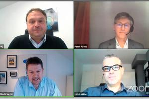 "<div class=""Bildtext 1"">Moderiert wurde die Diskussion durch Wolfgang Moderegger (unten links). Es tauschten sich die Exerten Dr. Peter Arens (oben rechts), Ulrich Müller (unten rechts) und Nenad Sebalj (oben links) aus. </div>"
