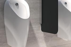 """<div class=""""bildtext_1"""">Berührungslose Urinalsteuerungen schaffen im halböffentlichen und öffentlichen Raum mehr Hygiene für die Benutzer: Sie finden stets ein sauber ausgespültes Urinal vor und müssen nicht händisch spülen. Hier im Bild das spülrandlose Urinal Geberit """"Preda"""".</div>"""
