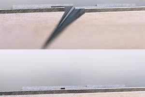 """<div class=""""bildtext_1"""">Mit dem rückseitigen Plattenstoßprofil – hier einmal geöffnet und geschlossen dargestellt – erzielen Fachhandwerker eine absolut dichte und nahezu fugenlose Verbindung zwischen zwei Dekorplatten. Stoß auf Stoß entsteht ein idealer Zusammenschluss auf großen Wandflächen.</div>"""