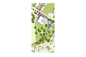 """<div class=""""bildtext_1"""">Heizzentrale im neuen Rathaus, Armaturenschacht (schwarz) und Pufferspeicher (rot). Primärkreislauf vom Abwasserkanal (braun) zu den Wärmetauschern, Sekundärkreislauf des Kalten Nahwärmenetzes zu den Hausanschlüssen.</div>"""