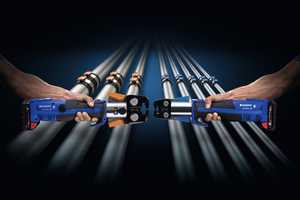 """<div class=""""bildtext_1"""">Das Sortiment des innovativen Mehrschichtverbundrohrs Geberit """"FlowFit"""" umfasst Rohrleitungen in den Dimensionen 16 bis 75mm, mehr als 450 Fittings, zwei Pressbacken sowie eine Handpresszange.</div>"""