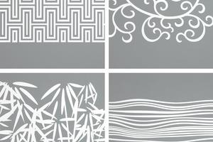 """In spiegelndem Chrom oder sandgestrahlt können neun unterschiedliche Dekore auf das Glas einer """"Hüppe Studio Paris"""" aufgebracht werden – ein attraktiver Akzent im neuen Bad<br />"""