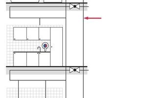 """<div class=""""bildunterschrift_ueberschrift"""">3 l-Regel</div> Innerhalb einer Zirkulationsanlage dürfen Teilabschnitte ohne Zirkulation (im Bild durch rote Pfeile gekennzeichnet) vorgesehen werden, wenn der Wasserinhalt in diesem Anlagenteil weniger als 3 l beträgt<br />"""