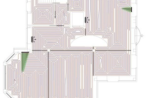 "<div class=""bildunterschrift_ueberschrift"">Bild 3</div>Mit der Planungssoftware ""RauCAD"" erstellter Verlegeplan der Fußbodenheizung"