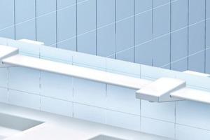Spiegletablar mit in die Ablage integrierten Wasserausläufen