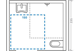 """<div class=""""bildunterschrift_ueberschrift"""">Bodenebene Dusche</div>Rollstuhlgerechtes Bad mit Dusche auf 6,22m<sup>2</sup> in Anlehnung an DIN 18040, Teil 1<br />"""