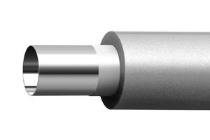"""Das von Hand biegbare """"Raxinox""""-Rohr besteht aus einem hochfesten Edelstahl-Inliner und einem thermisch stabilisierten PE-Mantel."""