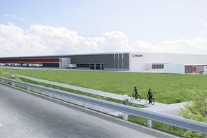 Die Adolf Würth GmbH & Co. KG, Mutterunternehmen der weltweit tätigen Würth-Gruppe, baut direkt an der A6/Ausfahrt Kupferzell im Gewerbepark Hohenlohe ein neues Umschlaglager.  Rendering: Vollack GmbH & Co. KG